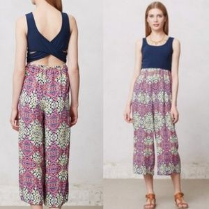 Anthropologie Lilika Colorful Cropped Jumpsuit